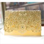GOLD Wedding Invitation Card Personalized Laser Cut Romantic Party Floral Lace