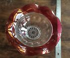 Vintage King's Crown Thumb Print Large Glass Salad Serving Bowl In Cranberry