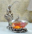 Classic Style Vintage Glass Fish Bowl Tank Country Fellow Fishing on a Tree