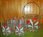 VERY RARE Vintage Signed Hand Painted 50's 60's Glass Ice Bucket