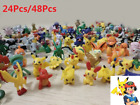 24/48Pcs Kawaii Baby Pogemon Kids Toys Cartoon Pearl Pika Bikachu Figures Random