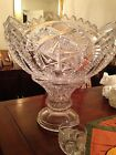 Exquisite Glass Punchbowl on Pedestal with 14 Cups