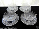 Federal Glass 4 Clear Heritage 8 oz Cup and Saucer Under Plate Sets