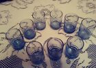 vtg 9 Blue Glass juice glasses Anchor Hocking