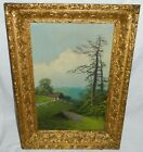 Antique 1890s LANDSCAPE Oil Painting on Canvas LEMON Gilt Gesso Frame NICE!