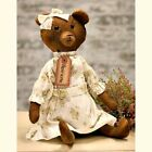New Primitive Grungy Antique Style Henrietta Girl Teddy Bear Dress Doll 16
