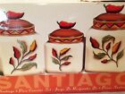 Clay Art SANTIAGO Kitchen Canister Storage Set NEW IN BOX Chili Peppers