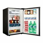 Compact Refrigerator Freezer 4.5 Cu Ft Steel Finish Glass Shelves Home Bar Dorm