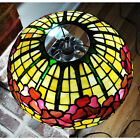 AntiqueTiffany Studio Style Leaded Stained Glass Table Lamp, Poppies w Lion Base