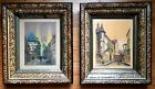 PAIR OF ANTIQUE VICTORIAN EASTLAKE PICTURE FRAMES FAUX TORTOISE SHELL WITH ART