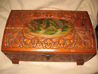 VINTAGE CEDAR WOOD HAND CARVED JEWELRY-TRINKET BOX, PICTURESQUE SCENE +  MIRROR