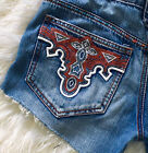 ANTIK Denim Cutoff Vintage Jean Shorts Button Fly Hot Pants Embroidered Pockets