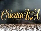 Historic Chicago IL. 1885 Plaque Ebony Wood Gold Gilt Victorian Calligraphy Sign