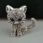 1x  Women Crystal Rhinestone Lovely Cat Vibtage Brooches Classic Accessories