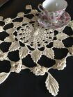 Vintage Handmade Cotton Floral Crocheted Lace Doily