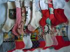 HUGE LOT 17 Handmade Christmas Stockings Vintage Lace Decorations Gift Giving