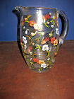 M W: BEAUTIFUL CLEAR GLASS PITCHER w/ HAND PAINTED FLOWERES signed ROBIN LISA