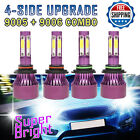 9005+9006 Combo LED Headlight Kit High&Low Beam Light Bulbs 2 Pairs Super Bright