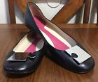 KATE SPADE Black  Soft Leather Silver Metal Puzzle Ballet Flats Size 7.5 B