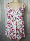 Torrid Womens Size 1 Floral Baby Doll Tank Top White Pink Ruffle Neck 10512729