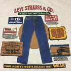 Vintage Levi Strauss  Co 2 sided XL T Shirt Jeans Denim Cowboy Rodeo Overalls