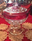 Tiffin Ruby Red Flash Kings Crown Thumbprint Covered Pedestal Compote Lg