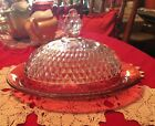 Oval domed butter Dish Lid, Cranberry or Ruby Red Indiana Diamond Point glass