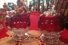 Indiana glass honeycomb pattern ruby red cream and sugar beautiful