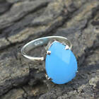 925 Sterling Silver Chalcedony Gemstone Checker Cut Prong Ring US 4 To 12 Jewelr
