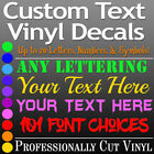 CUSTOM TEXT Vinyl Lettering Decal Personalized Sticker Wall Window Name City USA