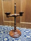 Primitive Adjustable Wood 2 Arm Candle Stand | Antique Colonial Style