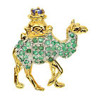 AWESOME NATURAL GREEN EMERALD  BLUE TANZANITE 2 TONE 925 SILVER CAMEL BROOCH