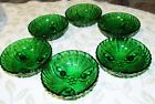 ANCHOR HOCKING FOREST GREEN OYSTER AND PEARL SIX BERRY BOWLS