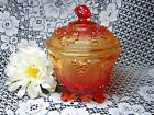 Vintage Jeannette Glass Amberina 4-Footed Candy Jar Bowl Box Grapes Leaves Lid