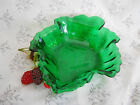 Vintage Hocking Glass Forest Green Maple Leaf Shaped Dessert Candy Bowl Nut Dish