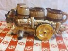 Vintage DONKEY  CART Salt  Pepper Sugar and Creamer pottery 8 8 17