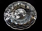 Indiana Glass Clear Constellation Flanders Poppy Silver Overlay 11