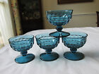 (4) INDIANA COLONY WHITEHALL RIVIERA BLUE CHAMPAGNE/SHERBET GLASSES 3 3/8