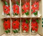 POINSETTIA TUMBLER SET in Original Holiday Gift Box -SUPERB Vintage Lot of 8!