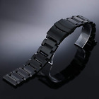 Black Stainless Steel Bracelet Replacement Watch Band Strap 23mm Double Clasp