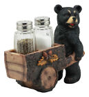 Black Bear Pushing Wagon Cart Salt and Pepper Holder w Shakers Included