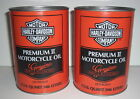 VINTAGE HARLEY OEM/NOS OIL CANS(2) PREMIUM II (2-NEW-FULL-CAN-40W) - 1970's NICE