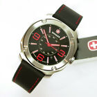 NEW $165 GENTS WENGER 43MM RED & BLACK DIAL SS 100M WR ESCORT WATCH #1051.103