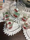Vintage Ball Small Tomatoe Pitcher And 4 Juice Glasses