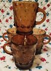 4 Fire King Kimberly Mug Amber Brown Vtg Anchor Hocking 8 oz Coffee Cup Diamond