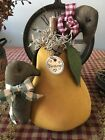 Primitive* Hand-crafted* Pear w/Crows* Shelf Sitter* Ornies* Blessings*