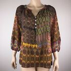 Olive Hill Womens M Multi-Color Popover Top 3/4 Sleeve Floral Paisley Abstract