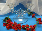 VINTAGE 2 LIGHT DOUBLE GLASS CANDLE HOLDER CANDELABRA - CENTER FLOWER DESIGN