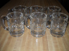 HEAVY GLASS BEER  MUGS VINTAGE 6 CLEAR Thumprint 4 1/2
