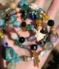 Vintage Art Glass Native American Turquoise Stone Animal Fetish Bead Necklace